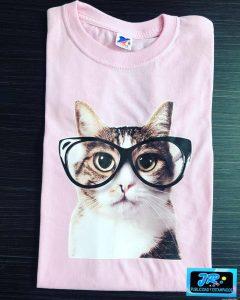 camiseta personalizada gato con gafas