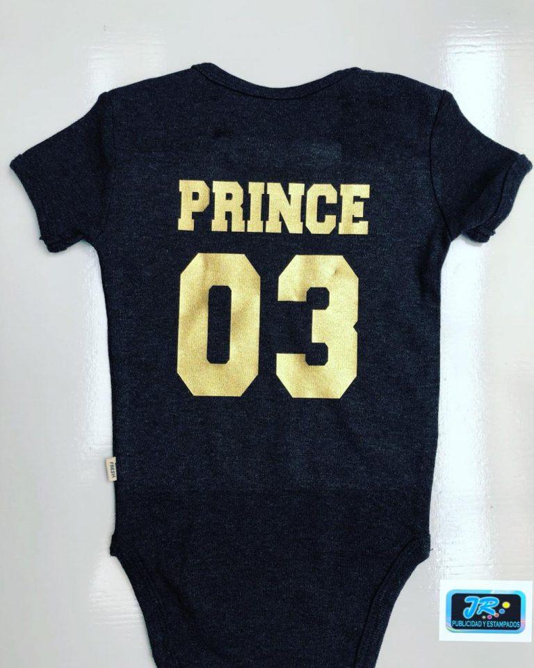 el prince edad 03 letras doradas mameluco personalizado