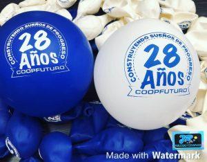 globos personalizados construyendo sueños de progreso 28 años coopfuturo