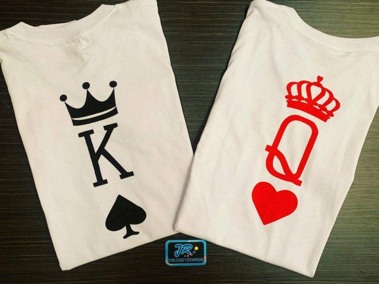 camisetas personalizadas poker rey de picas y reina de corazones