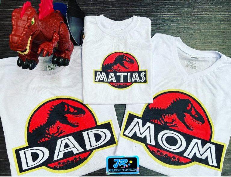 camisetas personalizadas el mundo jurásico para la familia